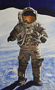 Astronaut Tapestries Textiles - Last Man - Apollo 17 by Simon Kregar