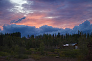 Evening Scenes Prints - Late Evening Sunset on the Telkwa River Print by Mary Lee Dereske