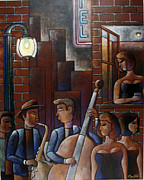 Woman In Black Dress Paintings - Late Night Jazz in New Orleans by Gerry High