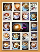 Bicycle Collage Posters - Latte Art Collage Poster by Susan Garren