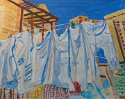 Jerusalem Paintings - Laundry Day in Jerusalem by Esther Newman-Cohen