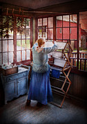 Farm Girl Posters - Laundry - Miss Lady Blue  Poster by Mike Savad