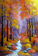 Serenity Scenes Landscapes Paintings - Lavendar  Dream by Shasta Eone