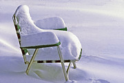 Lawn Chair Prints - Lawn chair in the snow Print by Boyd Norton
