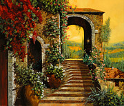 Orange Painting Metal Prints - Le Scale   Metal Print by Guido Borelli