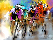 Sports Art Drawings Posters - Le Tour de France 03 Poster by Miki De Goodaboom