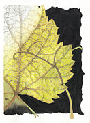 Green Foliage Drawings Prints - Leaf Print by Elena Yakubovich