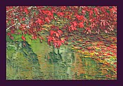 Water Flowing Mixed Media Posters - Leaves On The Creek 3 with small border 3 Poster by L Brown