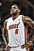 Miami Heat Prints - LeBron James Miami Heat Print by Carlos Diaz
