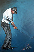 Heroes Paintings - Lee Westwood Charity Painting by Mark Robinson