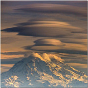 Faa Featured Metal Prints - Lenticular Rainier Metal Print by Chris Anderson