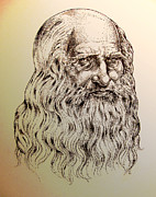 Sepia Ink Drawings - Leonardo da Vinci by Derrick Higgins