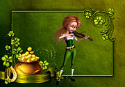 Leprechaun Digital Art - Leprechaun girl playing the voilin by John Junek