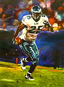 Running Back Painting Framed Prints - LeSean McCoy Framed Print by Kevin Brown
