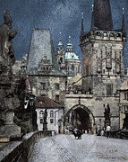 Charles Bridge Digital Art Posters - Lesser Town Bridge Towers Poster by Pedro L Gili