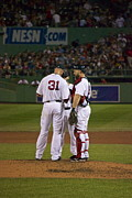 Red Sox Metal Prints - Lester Ross and Pedroia Metal Print by Amazing Jules