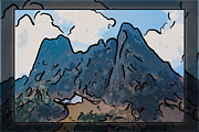 Witkowski Mixed Media Prints - Liberty Bell Mountain Abstract Landscape Painting Print by Omaste Witkowski
