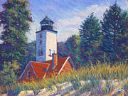 Shadows Pastels Posters - Light at Presque Isle Poster by Michael Camp