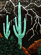 Lightening Mixed Media Prints - Lightening in the Desert Print by Patricia Januszkiewicz