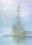 Sarah Vernon Framed Prints - Lighthouse in the Mist Framed Print by Sarah Vernon