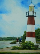 Lighthouse Drawings - Lighthouse on Lake Dora Florida by Kenneth Harris