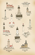 Lake Drawings Posters - Lighthouses of the Great Lakes Poster by Jerry McElroy