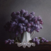 Pitcher Painting Framed Prints - LILACS study no.2 Framed Print by Larry Preston
