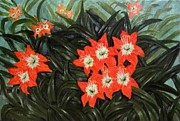 Lilly Paintings - Lily flower by Sheela Padmanabhan