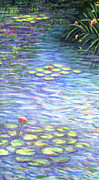 Flowers Paintings - Lily Pads Triptych part two by Linda Mears