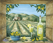 Glass Bottle Painting Posters - Limoncello Poster by Marilyn Dunlap
