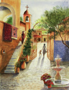 Tlaquepaque Sedona Arizona Posters - Lingering Spirit-Sedona Poster by Marilyn Smith