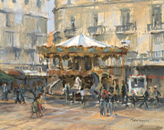 Carnivals Prints - Little Carousel Montpellier Print by Pat Maclaurin