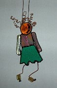 Little Girl Glass Art Prints - Little girl Print by Nora Solomon