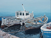 Docked Boats Originals - Little Mediterranean Boats by Danielle  Perry
