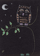Moonlight Drawings - Little Owl by Angel  Tarantella