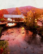 Gatlinburg Digital Art Framed Prints - LIttle River Bridge at Sunset Gatlinburg Framed Print by Rebecca Korpita