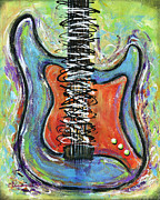 Electric Guitar Painting Originals - Live To Play by Elena  Feliciano