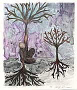 Tree Roots Drawings Framed Prints - Lo Mismo Framed Print by Olivia Levins Holden