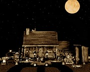 Etc. Art - Log Cabin Scene With The Classic Old Vintage 1958 Ferrari 250 Testa Rossa In Sepia Color by Leslie Crotty