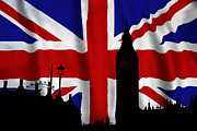 Silhouettes Digital Art Prints - London Union Jack Montage Print by Tim Gainey