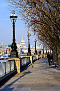 Riverside Metal Prints - London view from South Bank Metal Print by Elena Elisseeva