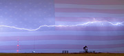 Storm Prints Photo Prints - Long Lightning Bolt Across American Oil Well Country Sky Print by James Bo Insogna