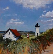 New England Lighthouse Painting Prints - Long Point Lighthouse Print by Laura Lee Zanghetti