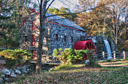 Fall Foliage Prints - Longfellows Wayside Inn grist mill in Autumn Print by Jeff Folger