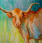 Texas Longhorn Cow Framed Prints - Longhorn in Spring Framed Print by Theresa Paden