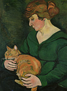 Tabby Paintings - Louison e Raminou by Marie Clementine Valadon