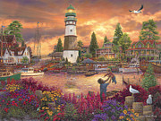 New England Lighthouse Painting Prints - Love Lifted Me Print by Chuck Pinson