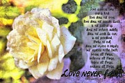 1 Corinthians 13:4 Framed Prints - Love Never Fails Framed Print by Michelle Greene Wheeler