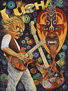 Guitar Paintings - Lucha Rock by Ricardo Chavez-Mendez