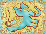 Swing Paintings - Lucky Elephant Turquoise by Judith Grzimek